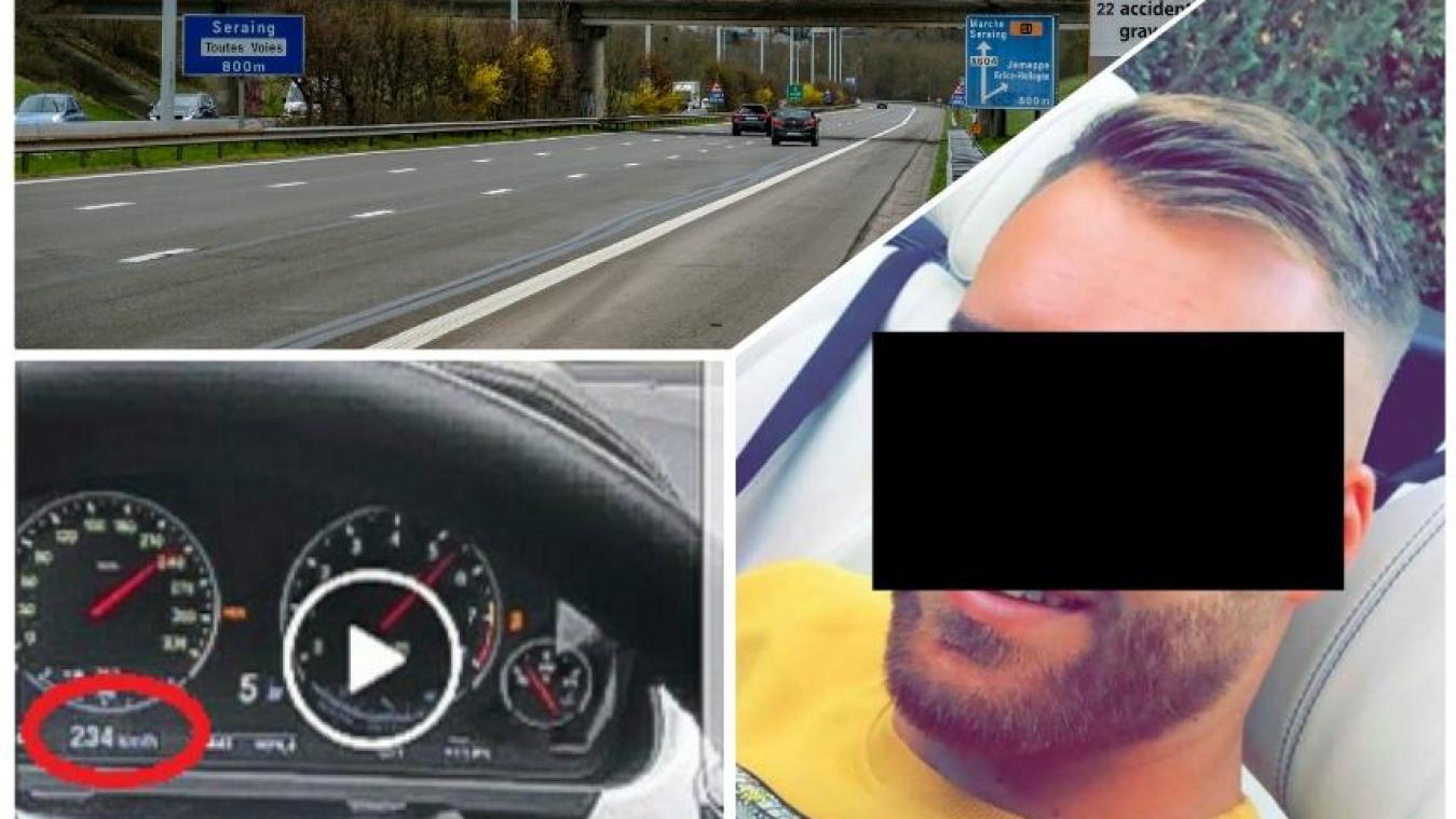 Il se filme à 234 km/h sur l'A604 entre Grâce-Hollogne et Seraing et dit qu'il a «trouvé» la vidéo: le