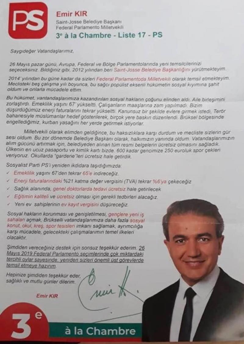 Le Plan Canal Vise Les Musulmans Affirme Emir Kir Ps Dans Un Tract Electoral En Turc Un Tract Communautariste Et Clienteliste Pour Le Mr