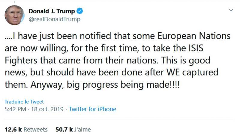 Trump affirme que «certains pays européens» sont sur le point de rapatrier leurs ressortissants partis