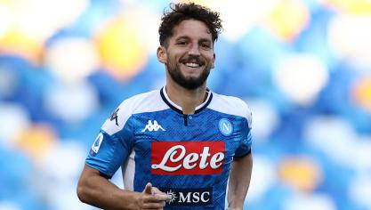 Dries Mertens of Napoli celebrates after scoring a goal during the Serie A football match between SSC  Napoli and SPAL at stadio San Paolo in Naples ( Italy ), June 28th, 2020. Play resumes behind closed doors following the outbreak of the coronavirus disease.   FOOTBALL : SSC Naples vs SPAL - serie A - 28/06/2020 © PanoramiC ! only BELGIUM !