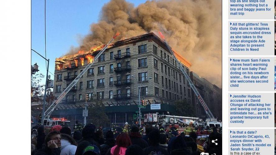 important incendie dans un immeuble de six tages new york plus de 100 pompiers sur place. Black Bedroom Furniture Sets. Home Design Ideas