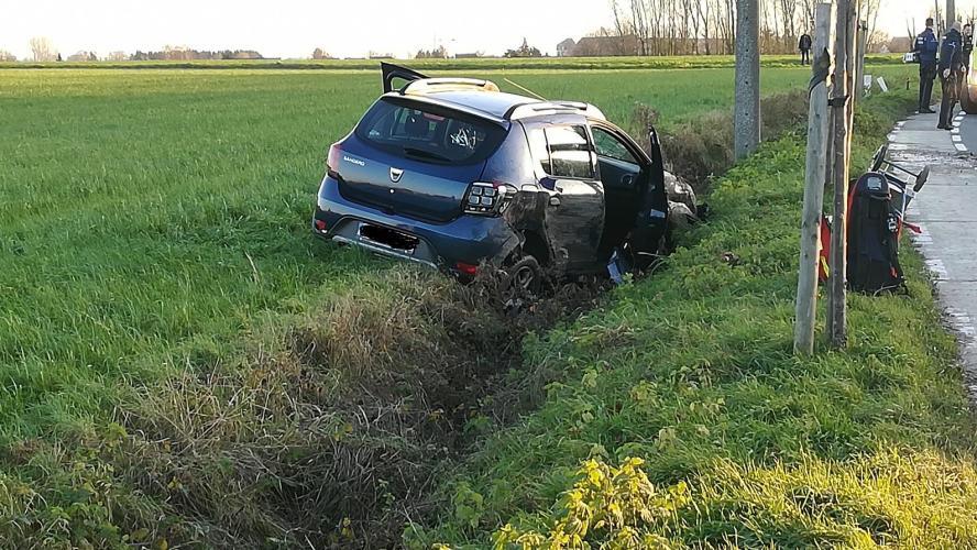 herseaux : une voiture finit dans le fossé rue de l'Épinette
