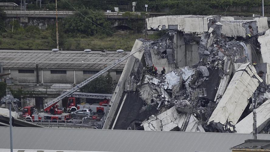 Le viaduc s'écroule à Gênes: au moins 38 morts