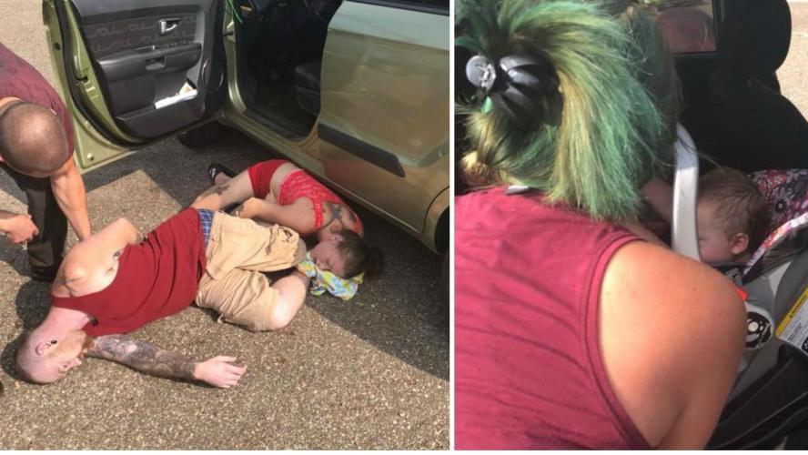un bébé laissé dans une voiture par une chaleur étouffante: les