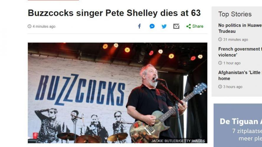 Décès de Pete Shelley, chanteur de Buzzcocks
