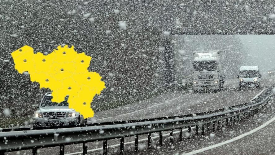 Prudence sur les routes: l'IRM place toute la Belgique en alerte, des chutes de neige ou de neige fondante possibles!