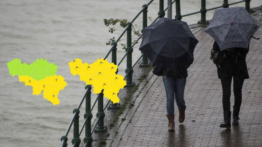 Double alerte de l'IRM sur toute la Wallonie: de nombreuses averses de pluie et des rafales de vent attendues!