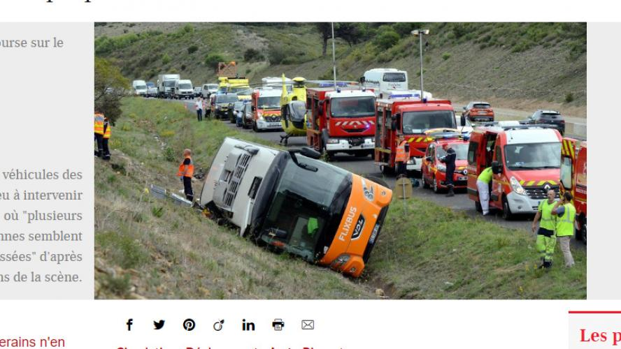 Un mort et 17 blessés dans un accident d'autocar — France