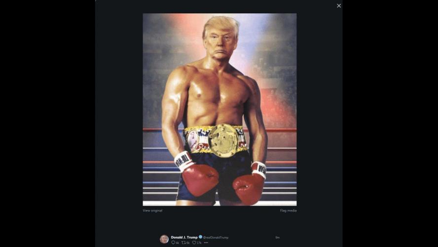 Trump se présente en Rocky, torse nu, sur Twitter — Rien ne l'arrête