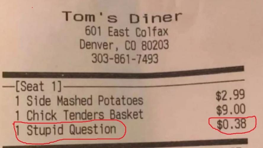 Ce restaurant facture chaque question idiote à ses clients !