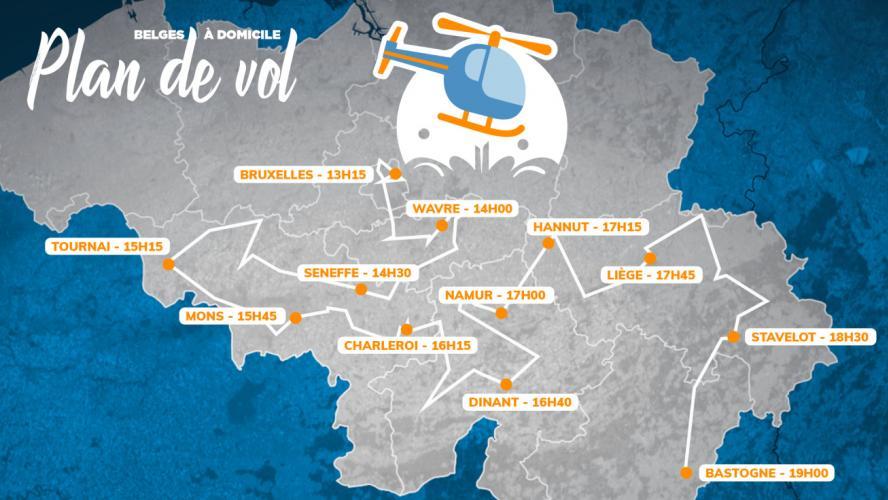 Belges à domicile, vus du ciel», c'est ce lundi: voici l'itinéraire de l'