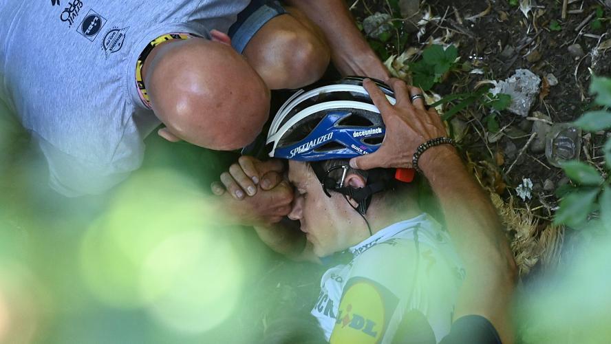 Remco Evenepoel, l'un des favoris, victime d'une terrible chute — Tour de Lombardie