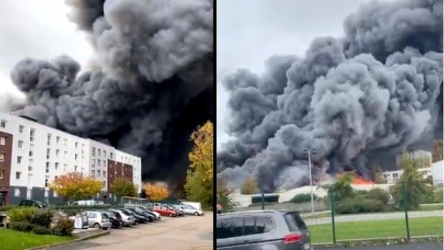 Une centaine de pompiers déployés sur un entrepôt en feu — Le Havre