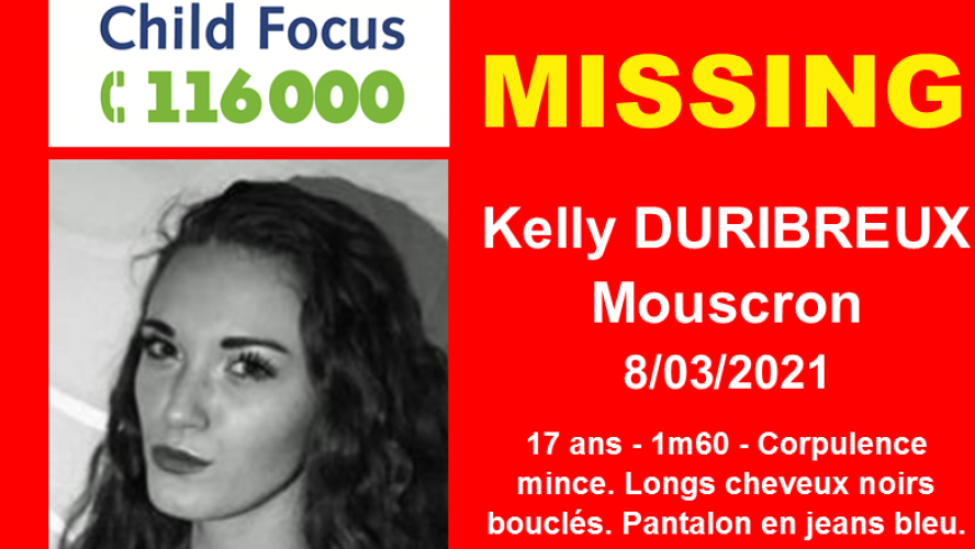 Disparition inquiétante à Mouscron, Child Focus lance une alerte: avez-vous vu Kelly, disparue depuis lundi? (photos)