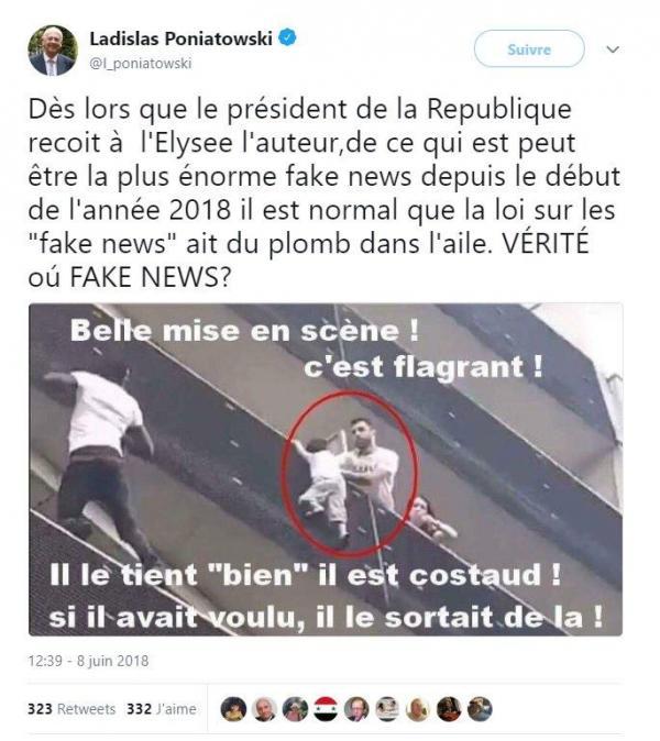 Un sénateur Les Républicains partage une théorie du complot sur Mamoudou Gassama